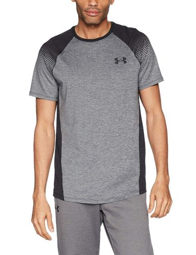 Under Armour Men's Challenger 2 Training Grey Black Top Short-Sleeve Shirt